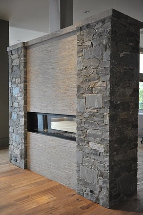 Two sided fireplace stone