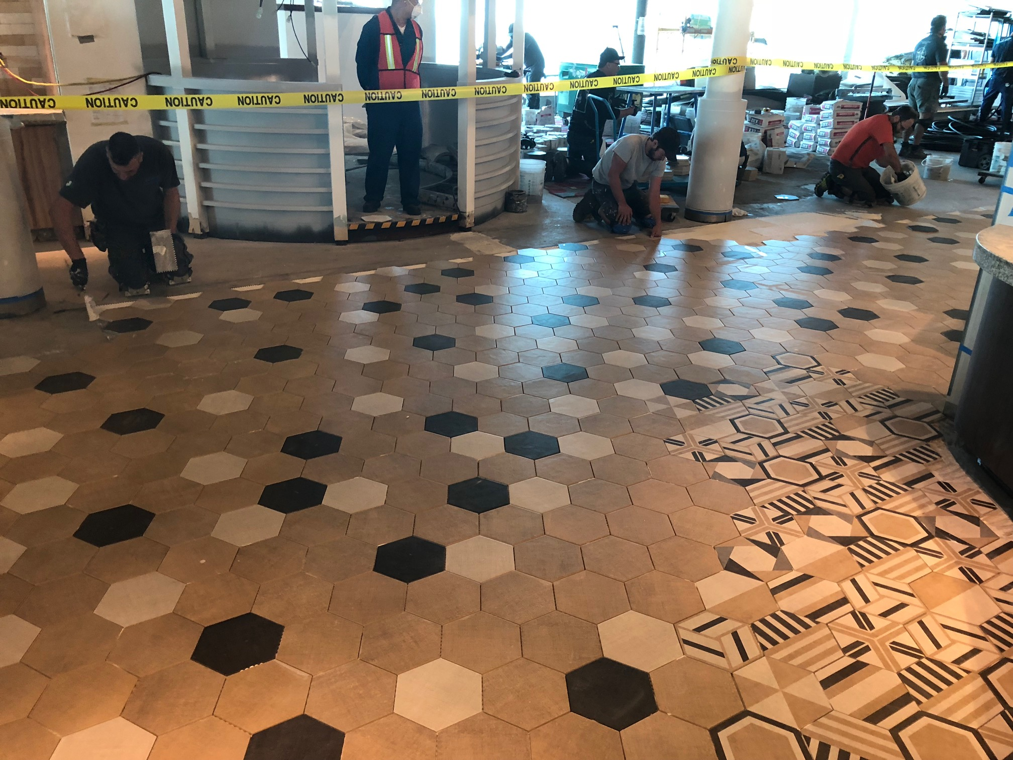 Hexagon tile epoxy grout